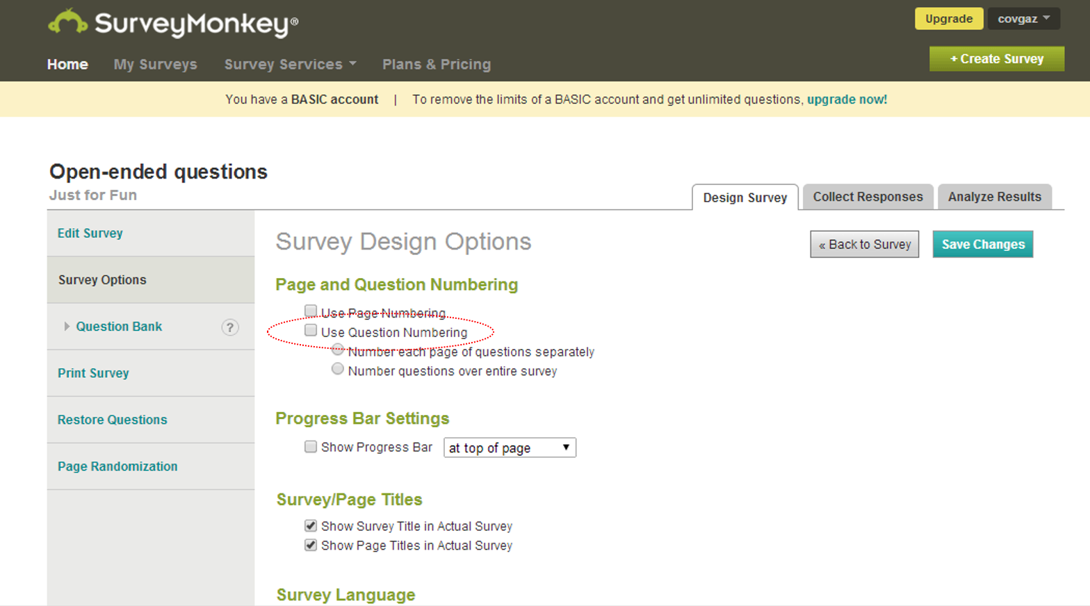 surveymonkey no question numbers